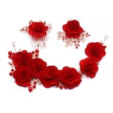 цена на 40 Pieces/Lot Handmade Soft Chiffon Fabric Flowers Pearl Wedding Hair Flower For Girls DIY Hair Accessories Decoration Headband