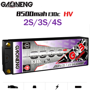Gaoneng GNB 8500MAH 130C Plus RC1:10 Outgoing Cable 2P 2S 3S 4S FPV Battery 7.6V 11.4V 15.2V Hard Shell Off-road Car Batteries