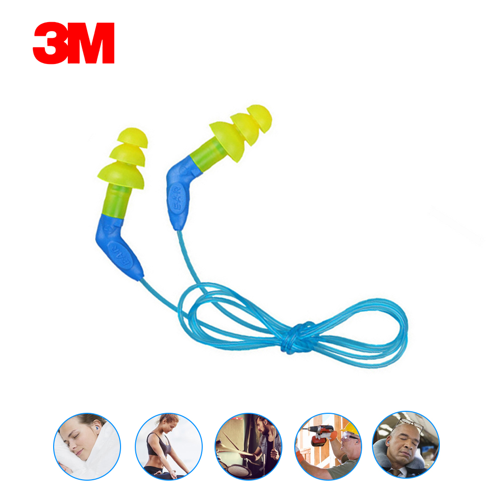 1 Pair 3M 340-8002 Ear Plugs Anti-noise Earplugs Sleeping Earplugs Christmas Tree With Cable Comfortable Yellow Ear Protector