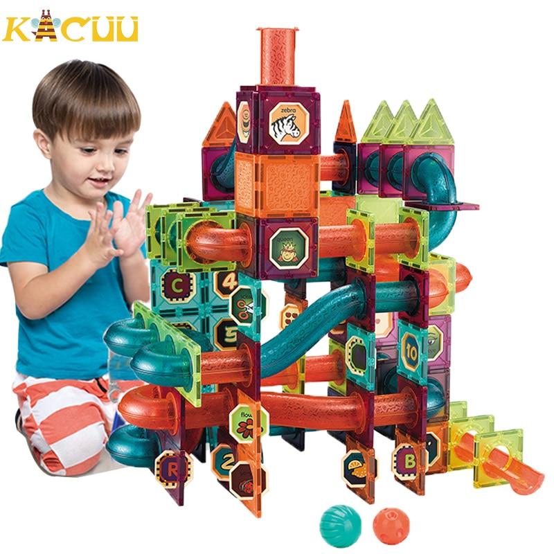 Creative Magnetic Building Blocks Toys Magnet Maze Ball Track Blocks Magnetic Funnel Slide Blocks Educational Toys For Children