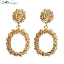Carter Lisa Geometric Round Gold Metal Statement Earrings Fashion Luxury Alloy Jewelry Drop For Women 2020 pendientes
