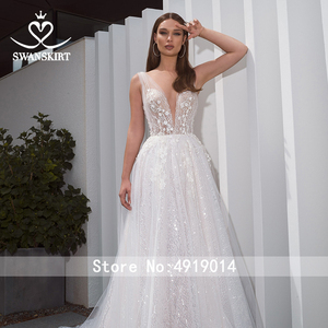 Image 3 - ロマンチックなvドレスswanskirt F261自由奔放に生きるビーズアップリケaライン3D花イリュージョン花嫁衣装vestidoデnoiva