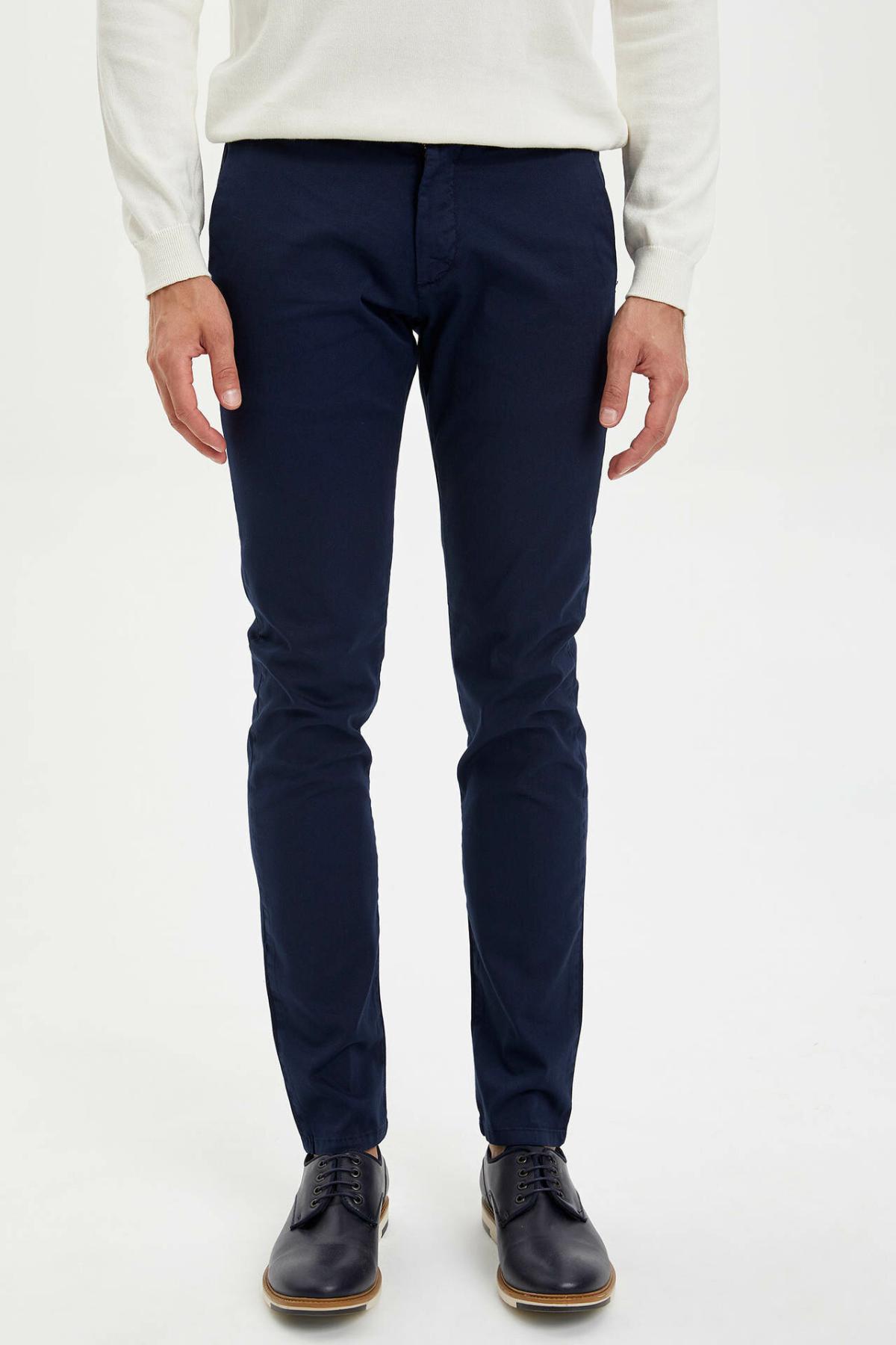 DeFacto Man Casual Long Trousers Solid Black Kahki Color Slim Pencil Pants Men Bottoms Pant -M4485AZ19AU