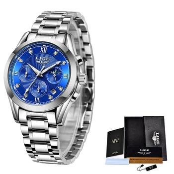 LIGE 2021 New Fashion Watch Women Watches Ladies Creative Steel Women Bracelet Watches Female Waterproof Clocks Relogio Feminino 8