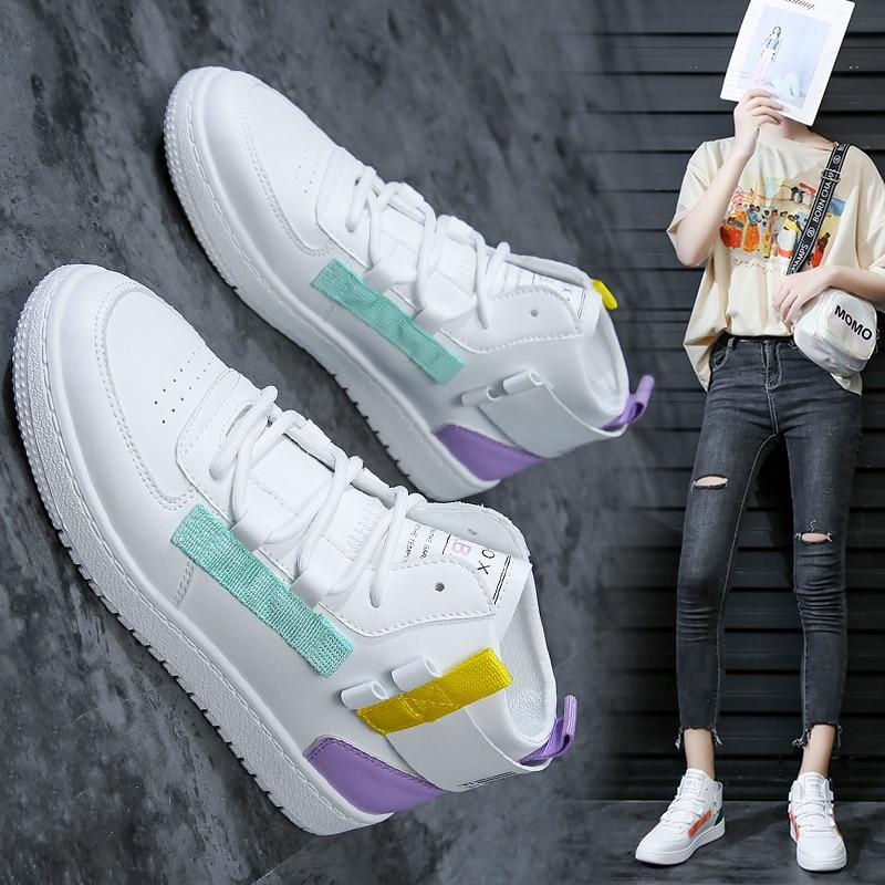 Women Casual Shoes  High Top Board Shoes Women Fashion Sneakers Trend Student Shoes Light Flat White Shoes Women Vulcanize Shoes