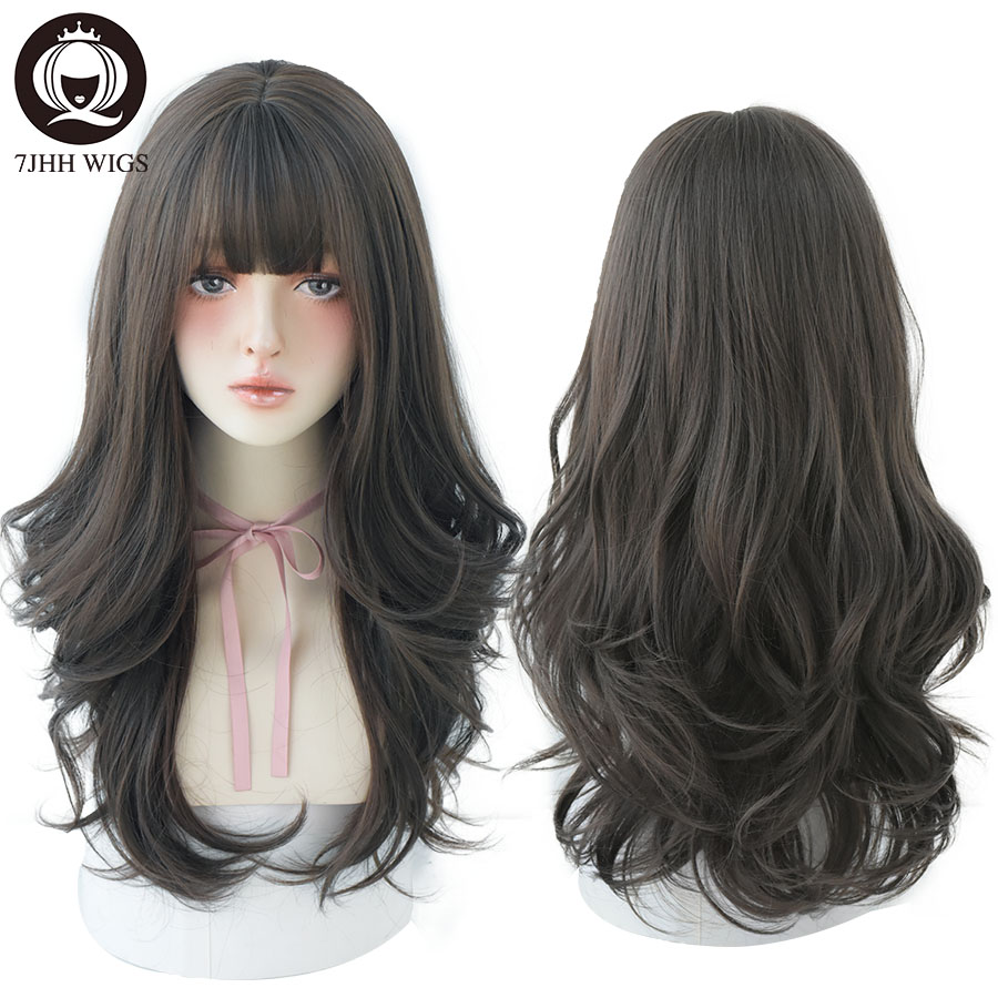 7JHH WIGS Black Wavy Long Wig For Women Natural Soft Heat Resistant Wig With Fringe Trendy Hairstyle Wig