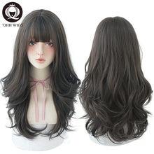 7JHH-cheveux longs ondulés noirs, naturels, résistants à la chaleur avec frange, coiffure tendance pour femmes