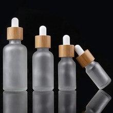 Bouteilles compte-gouttes en verre pour huile essentielle, 5ml, 10ml, 15ml, 30ml, 50ml, 100ml, pour aromathérapie, bouchon en bambou, réactif, goutte d'eau, liquide pour les yeux