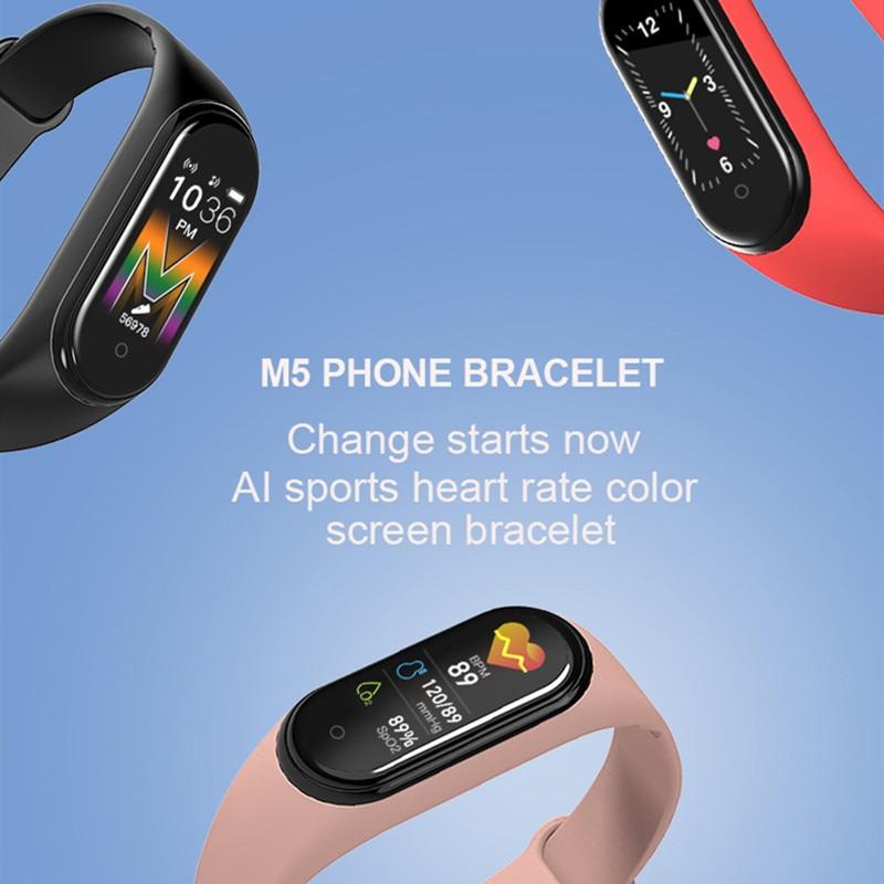 Смарт-браслет M5 для мужчин и женщин, фитнес-трекер для воспроизведения музыки, совместим с устройствами на базе IOS 4