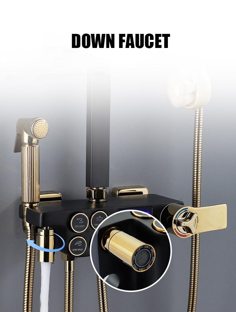 H7f7ecf14984b4d459c6dd1715633676e4 Hot Cold Shower System Bathroom LED Digital Shower Set Wall Mount Smart Thermostatic Bath Faucet Square Head SPA Rainfall Grifo