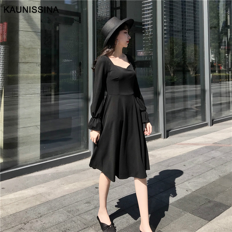 KAUNISSINA Long Sleeve Cocktail Dresses Women Party Gown Elegant Solid Knee Length Korea A-Line Homecoming Dress Cocktail Robe