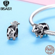 цена на BISAER 925 Sterling Silver Black and White Bull Cow Pick a Moo Charm Fit for Silver Charm Bracelet Fashion Jewelry GXC1049