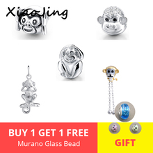 NEW Recommend 925 Sterling Silver Beads cute monkey diy charms Fit authentic pandora Bracelets Jewelry making for women Gifts