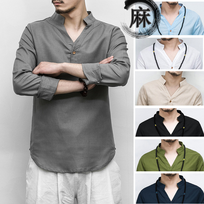 Chinese Traditional V-neck Linen Blouse Casual Clothing Men Plus Size Tee Top Long Sleeve Kung Fu T-shirt Tang Suit Hanfu Outfit