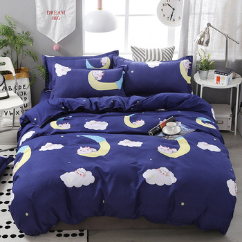 Sheep Cat Star Moon Cloud Print Bed Cover Set Kid Duvet Cover Adult Child Bed Sheets And Pillowcases Comforter Bedding Set 61064 image