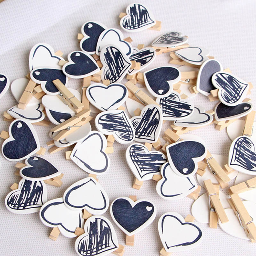10 Pcs/set DIY Black White Heart Photo Hanging Pegs Mini Wood Clothes Pegs Clothespin Clips Office Party Decoration Accessories