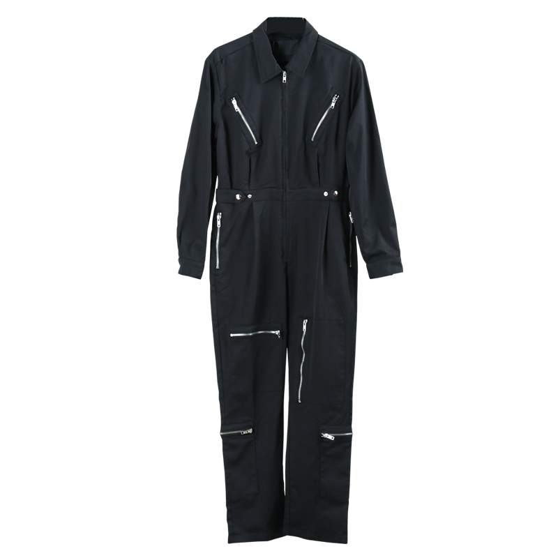 KIOVNO Men Fashion Hip Hop Bib Overalls Multi Zipper Solid Color Streetwear Jumpsuits For Male Suspender Pants Stage Wear