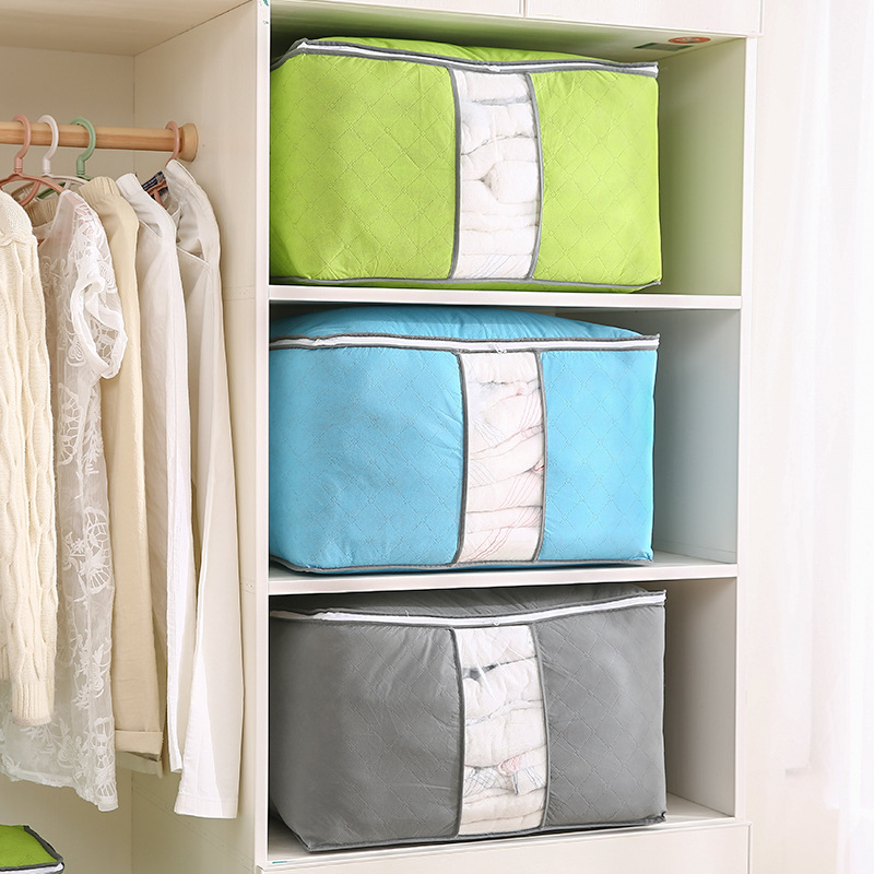 Складная Большая Нетканая сумка на молнии для хранения одежды, одеял, фотошкатулка, пластиковые сумки с застежкой-молнией, органайзер для ш...