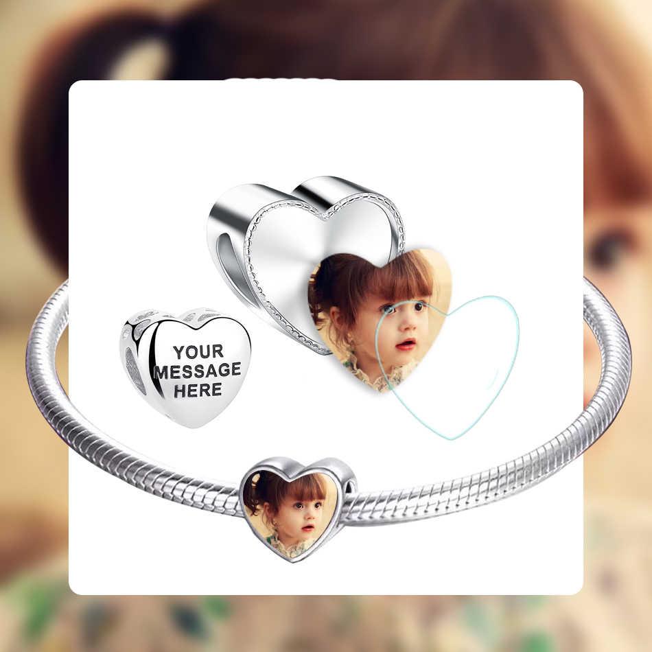 Forewe Pribadi Photo Charm 925 Sterling Silver Asli Mengukir Huruf Pesona Manik-manik Cocok Pandora Wanita Gelang Perhiasan