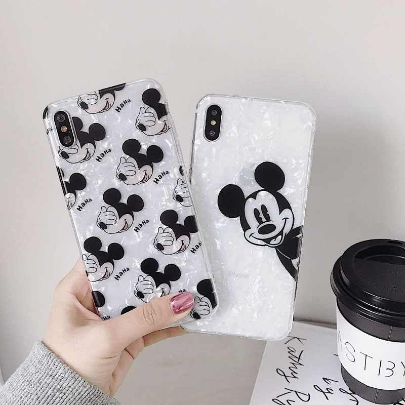 Minnie Mickey Pato Donald Winnie Pooh elefante TPU Soft Case para iPhone coque X 7 6 6 8 Plus s p XR XS MAX Conch Shell Capa