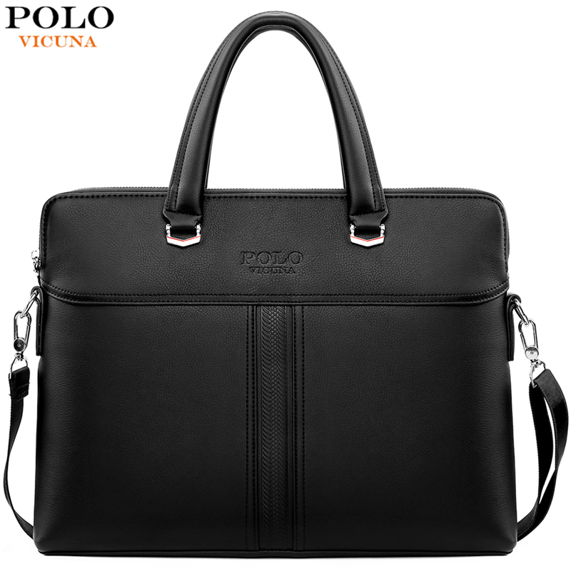VICUNA POLO Solid Black Leather Men's Handbag Casual Business Mens Leather Briefcase Bag Cross Body Shoulder Bag Dropshiping