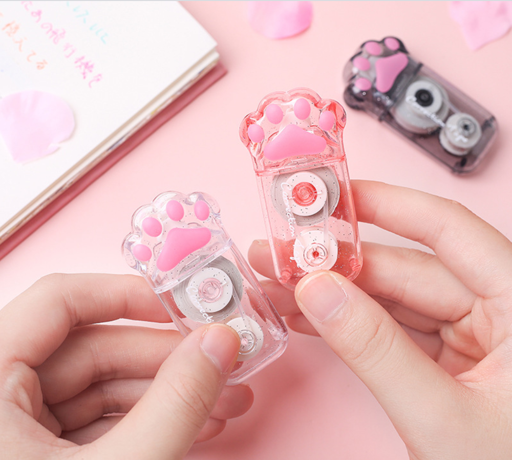 5mm*6m Long Cat's Paw Correction Tape Roller White Sticker Kawaii Stationery Office School Supplies Student Gift Prizes Dairy