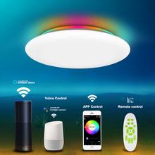 Inteligentna dioda LED sufitowe światło głos WIFI sterowanie RGB ściemnianie kontrola aplikacji salon sypialnia kuchnia lampa sufitowa tanie tanio CUOSHE ROHS CN (pochodzenie) 20 Metrów 10-15square KİTCHEN Jadalnia Łóżko pokój Foyer Badania 220 v Brak WHITE Pilot zdalnego sterowania