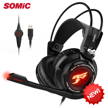 Somic G941 Gaming Headset 7.1 Sound Vibration Headset with Microphone Stereo Bass Noise Cancelling Headphones LED Light USB Plug somic g954 usb 7 1 gaming headset headphones with microphone noise cancelling stereo bass vibration led light for pc ps4 gamer
