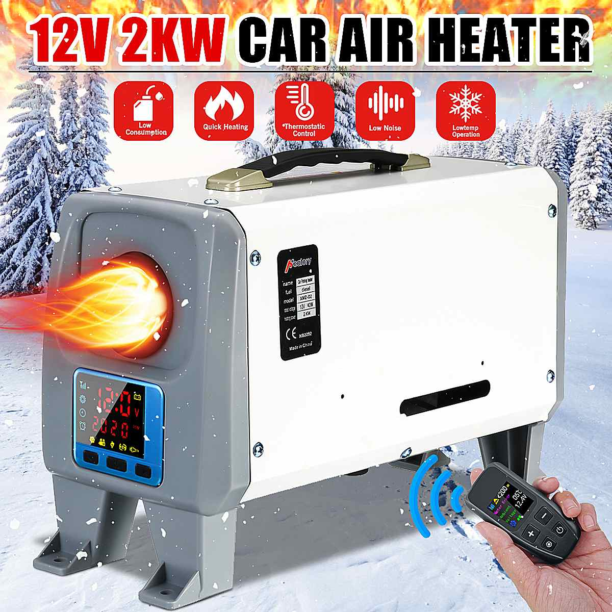 12VV 2KW Adjustable Car Diesel Air Heater Fan New Black LCD Switch+ Remote Control Integrated Machine For Van Boat Bus