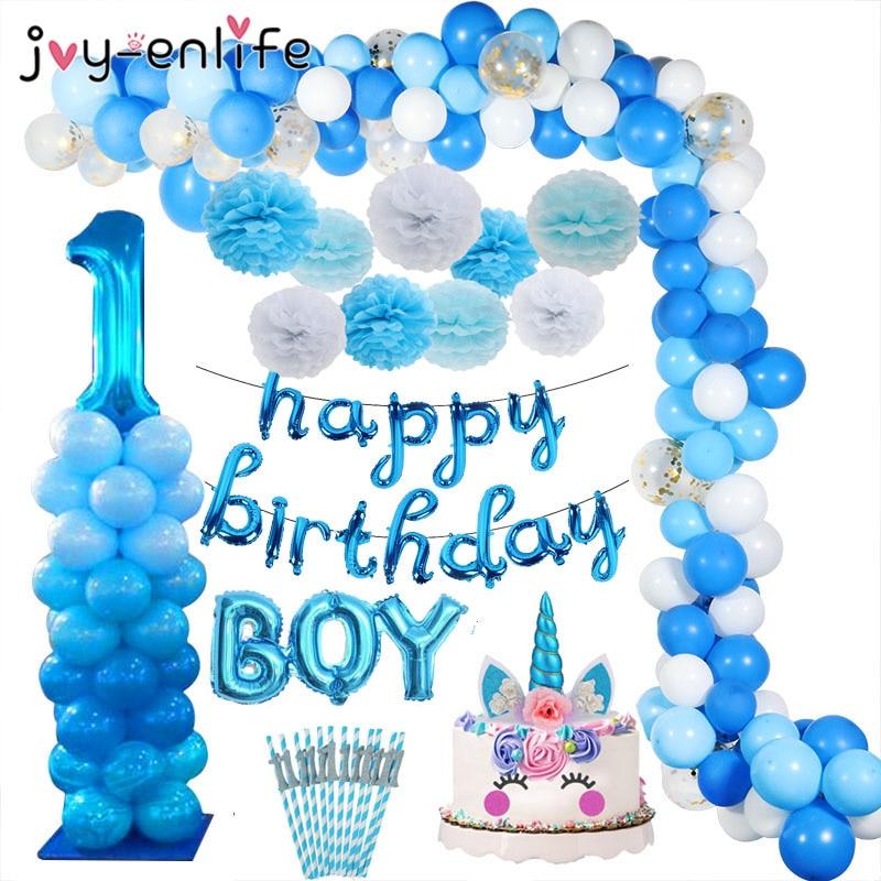 1 anos azul balões de aniversário chá de fraldas festa de aniversário decoração crianças 1st aniversário menino crianças balões fontes de festa