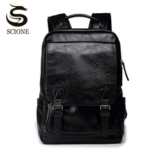 Male Female PU Leather Computer Backpack Men's USB Charging Backpacks Laptop Business Boys School Bags Casual Travel Backpack