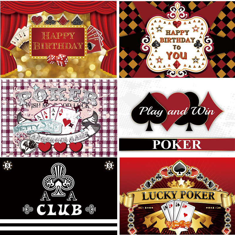 Poker Party Backdrop Poker Birthday Party Theme Casino Night Photography Background Decorations Props ww06(China)