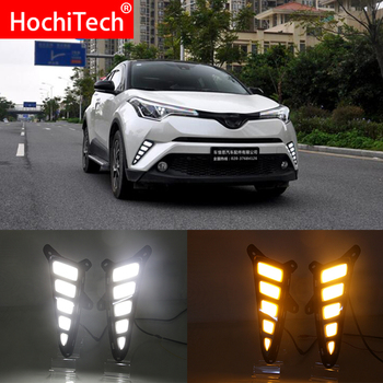 Car flashing LED DRL Daytime Running Light Daylights for Toyota C-HR CHR  2017 2018 2019  With Yellow Turn Signal lamp