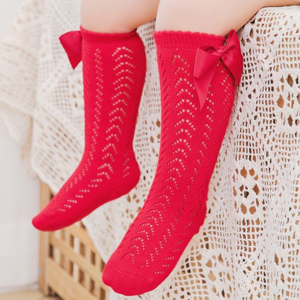 Cute Girls Knee High Socks Bows Cotton Breathable Soft Children Socks Hollow Out Non-slip Newborn Infant Long Socks 0-3Years 2