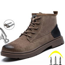 Echtem Leder Arbeit Sicherheit Stiefel Für Martin Stiefel Winter Schuhe Männer Arbeiten Schuhe Männlichen Stahl Kappe Schuhe Sicherheit Industriellen Schuhe