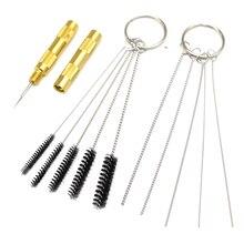 Kit de ferramentas de reparo de limpeza de pistola, kit de ferramentas de reparo de limpeza de aerógrafo com agulha e escova, 11 peças