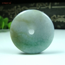 CYNSFJA Real Certified Natural A Grade Burmese Jadeite Amulet Peace Buckle Jade Pendant Green Yellow High Quality Best Gifts