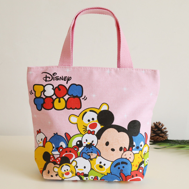 Disney Cartoon Portable Canvas Lunch Bag Lady Cloth Bag Mickey Mouse Minnie Bag Student Tool Sundries Bag Totes Handbag TSUM
