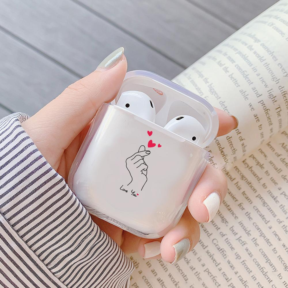 Cartoon Butterfly Heart Transparent Earphone Charging Box Cover Bag For AirPods 1/2  Wireless Soft Clear Headset Protective Case
