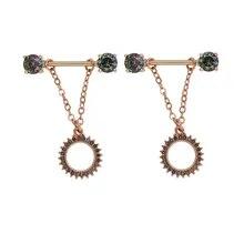 MagiDeal 2pcs Flower Rose Hypoallergenic Stainless Steel Nipple 14g Rings