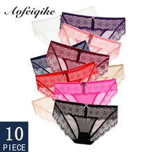 Sexy Lace Woman Panties Underwear For Briefs Floral Soft Mesh Female M-XL 10 Pcs