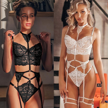 Women Sexy Lingerie Babydoll Lace Bra Thongs Garters Set Erotic Underwear Porno Sex Costumes Lenceria Erotica Mujer Sexi - discount item  30% OFF Exotic Apparel