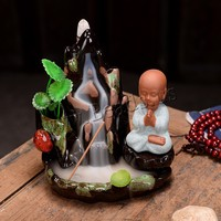 Small Buddha Backflow Incense Burner Holder Smoke Waterfall Stick Holder Lofty Mountains And Flow Water Censer Home Decor