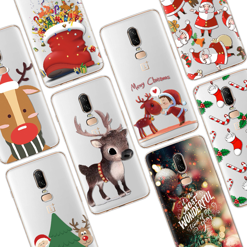 Merry Christmas Case For <font><b>One</b></font> <font><b>plus</b></font> 7 Pro 7Pro Clear TPU Cartoon <font><b>Phone</b></font> Case For <font><b>One</b></font> <font><b>Plus</b></font> <font><b>6</b></font> 6T 5 5T 3 Silicone For OnePlus 6T Coque image