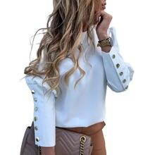 Блузка с длинным рукавом и круглым вырезом осенняя