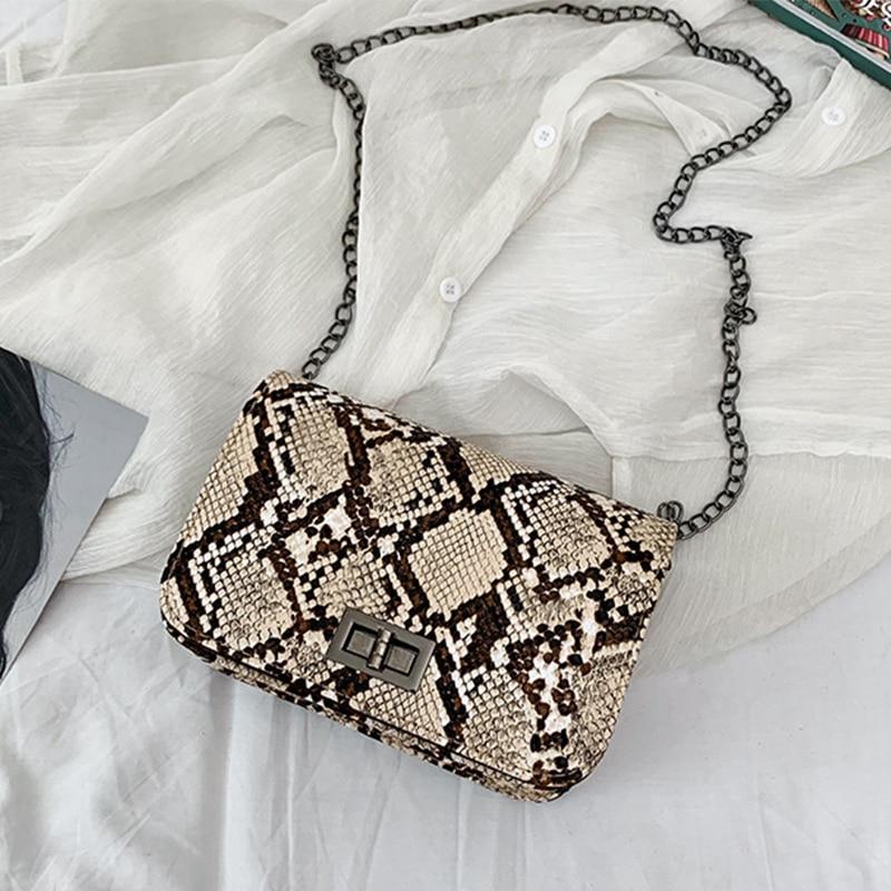 Luxury Handbags Women Bags Designer Serpentine Small Square Crossbody Bags Wild Girls Snake Print Shoulder Messenger Bag