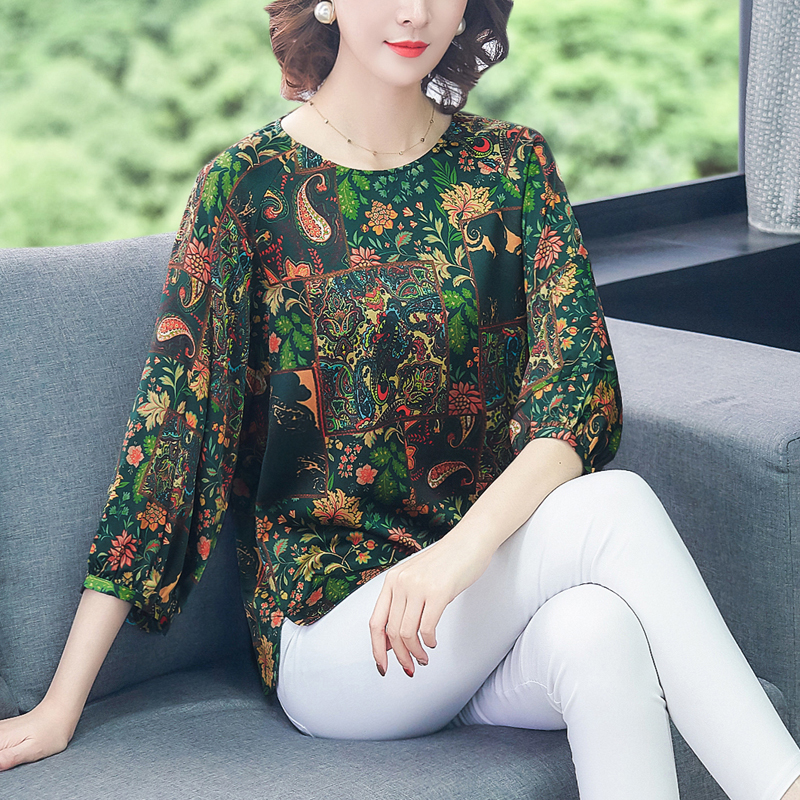COIGARSAM Plus Size Blouse Women Spring Summer Three Quarter Sleeve Print Loose Blusas Womens Tops And Blouses Green Flower 6815