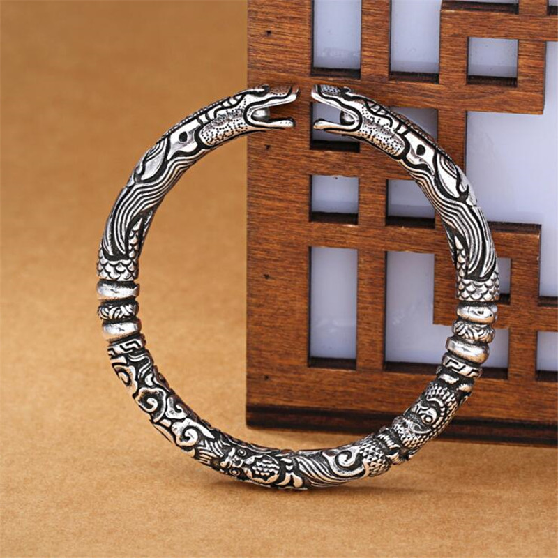 New Exquisite Ssangyong Pley Beads Bracelets 925 Sterling Silver Jewelry Double Dragon Means Good Luck Bangles SB203