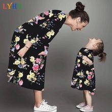 Famille correspondant tenues à manches longues filles vêtements printemps mère fille robe colorée fleur imprimer hiver Parent enfant robe
