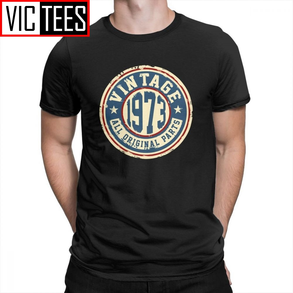 Vintage 1973 All Original Parts Tees Men's Novelty Tops T-Shirt 100% Cotton Black Clothing Crew Neck T Shirt
